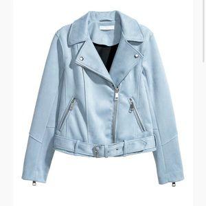 H&M Faux Suede Light Blue Biker Jacket